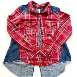 Free People Plaid and Denim Shirt